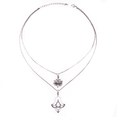 GUAngqi Vintage Silver Color Double Layer Elegant Vivid Lotus Flowerset Women Girl Jewelry Gifts