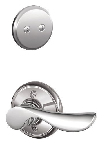 Left Hand Champagne Lever - Schlage F94CHP625LH Polished Chrome Interior Pack Champagne Dummy Lever Interior Pack with Deadbolt Trim for Left Handed Doors