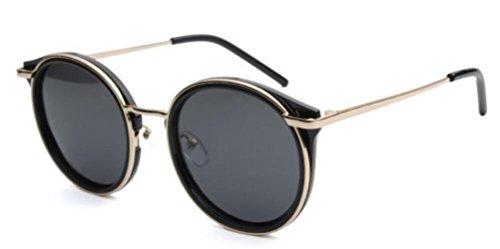 De De Gafas Sol De Lady Gafas Redondo Black Marco Sol Viaje De De Moda qTz8xnYEw