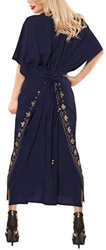 da costume rayon lungo bagno delle LA costumi del kimono h249 LEELA donne beachwear di Navy bagno designer da vestito Blu caftano a0FPq8z