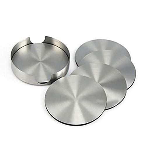 FidgetFidget Stainless Steel Round Drink Coasters Set Of 6 Holder Stylish Modern Design