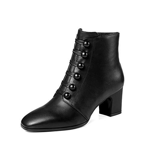 Tacones De Negro 2018 Nuevos Algodón Verde Otoño Modelos Altos E Zapatos Botas Cuero Moda Gruesas Con Invierno Salvajes Martin SPqRdEw