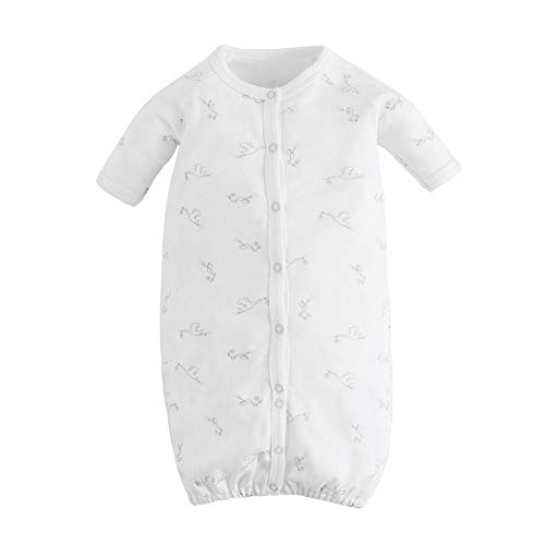 (Under the Nile Organic Cotton Unisex Baby White Stork Print Convertible Romper)