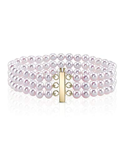THE PEARL SOURCE 14K Gold 6-7mm AAAA Quality Round Pink Freshwater Cultured Pearl Triple Strand Bracelet for Women