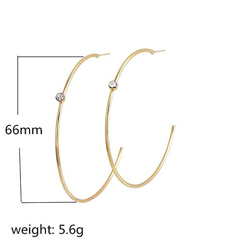 Gold Large Circle Drop Zircon Earrings Women Hoop Ear Piercing Party Earrings