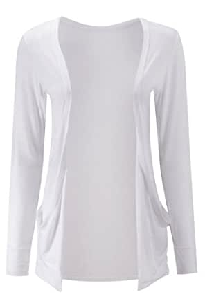 Fashion Victim, Ladies Long Sleeve Boyfriend Cardigan with Slouching Side Pockets, Shrug, Blazer in White, Size 16-18
