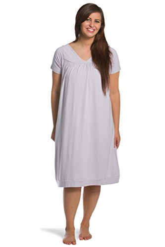 Fishers Finery Women's Tranquil Dreams Short Sleeve Nightgown  Comfort Fit, Lavender Fog, Large (Nightgown Short Knee Length Sleeve)