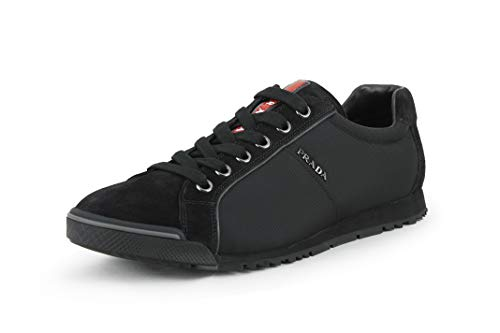 (Prada Men's 4E2719 Black Leather Sneaker EU 9.5 (43,5) / US 10.5)