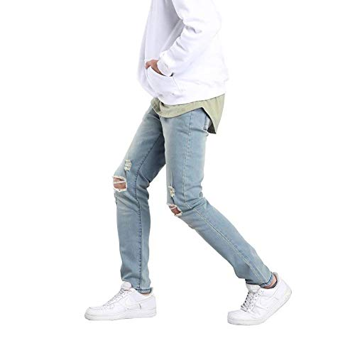 Vintage Holes Strappato Fit Pantaloni Stretch Jeans Especial Hellblau13 Distrutto Biker Fashion Uomo Estilo Slim xF1qHwX