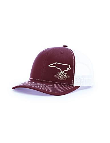 Wear Your Roots Snapback Trucker Hat (One Size - Adjustable, North Carolina Maroon/White Mesh) (North Carolina Baseball Hats)