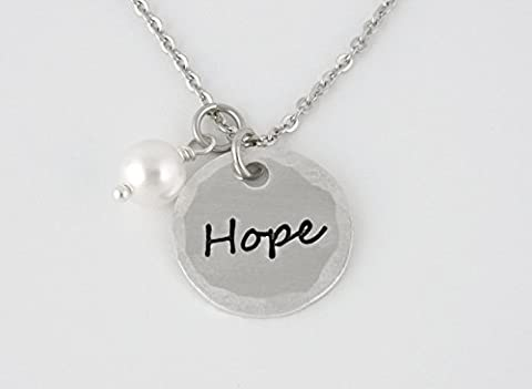 Hope Charm Necklace with Swarovski Pearl - Hand Stamped Aluminum with Stainless Steel Chain - Pearl Graduation Charm