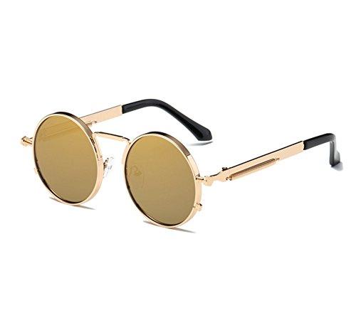 Or Keephen Lunettes de Frame Vintage Or Hippy Round Steampunk soleil conduite UV400 Foncé lunettes Classique RnOwaqrRW