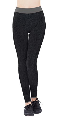 Woogwin Health Fitness Power Flex Yoga Pants Leggings Slim Running Workout Leggings (S/M,Gray)