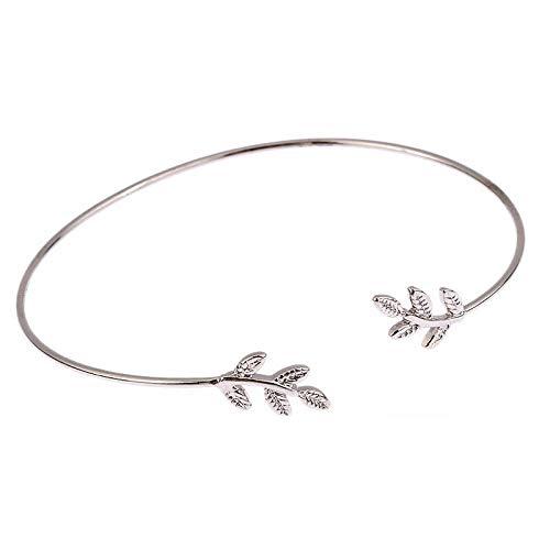 LTH12 Bangles - Opening Leaf Knot Charm Cuff Bracelets Set for Women Gold Alloy Bracelet Boho Jewelry Accessories 1 PCs ()