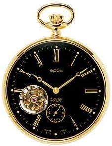 [エポス] メンズ レディース 懐中時計 ポケットウォッチ 手巻き POCKET WATCH オープンハート Open Heart 2090 金 黒 ゴールド ブラック