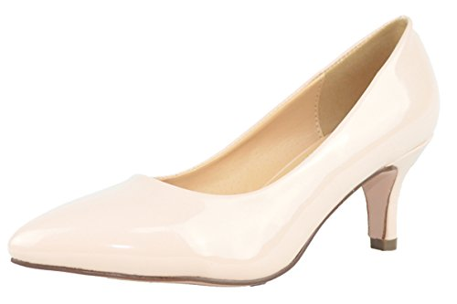 Cambridge Select Mujeres Classic Closed Pointed Toe Slip-on Mid Kitten Heel Pump Nude Patent