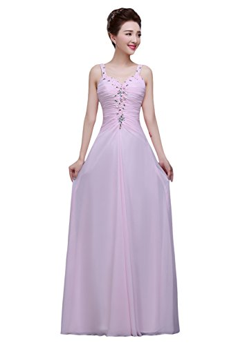 Bridal_Mall -  Vestito  - linea ad a - Senza maniche  - Donna rosa 40