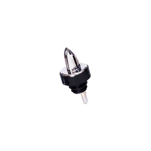Spill Stop Plastic Pourer - Spill-Stop 371-00 Chrome Plated Plastic Pourers - Black Collar
