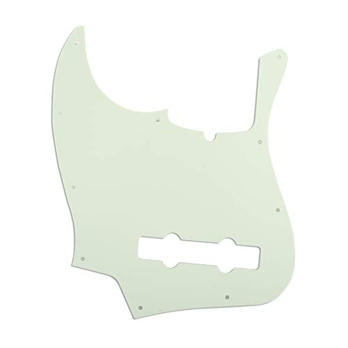 Musiclily Pro 10-Hole Contemporary J Bass Pickguard for Fender Jazz Bass American 5-String, 3Ply Mint Green