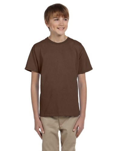 Fruit of the Loom Youth 100% Heavy Cotton HD T-Shirt, Medium, (Youth Chocolate)