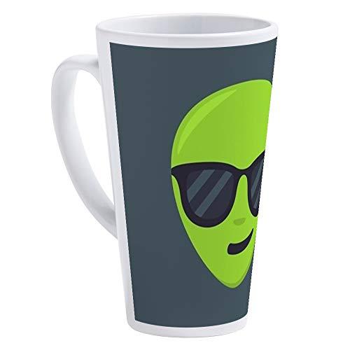 CafePress Alien Sunglasses Emoji 17 oz Latte Mug