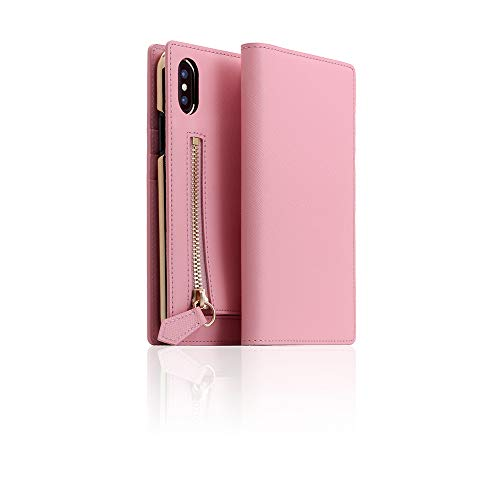 SLG Design] D5 Calf Skin Leather Zipper Case for iPhone X/XS I Saffiano Pattern Leather Mini Coin Purse Wallet Cover Zipper Pouch with Feature Card Slots Compatible with iPhone X/XS (Baby Pink) (Calfskin Embossed Wallet)