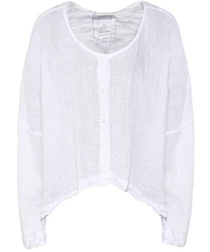 Vers Haut Blanc Grizas Le En Bouton Lin Femmes 68aqPO8