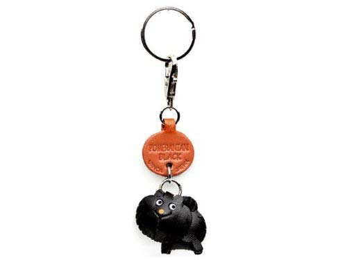 Pomeranian Black Leather Dog Small Keychain VANCA Craft-Collectible Keyring Charm Pendant Made in Japan