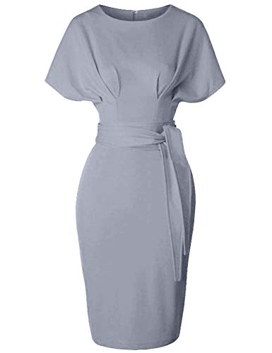 GownTown Women's 50s 60s Vintage Sexy Fitted Office Pencil Dress Grey