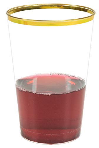 Glam 50-Pack Gold Plastic Cups, 12-Ounce | 12 Oz Gold Cups | Thin Gold Rimmed Plastic Cups, 12oz | Plastic Wine Glasses for Parties -