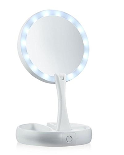 PiggiesC Double-Sided LED Lighted Foldable Vanity 1X/10X Magnifying Makeup Mirror by PiggiesC (Image #1)