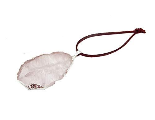 Gemstone Ornaments - Freeform Rose Quartz Silver Gemstone Christmas Ornaments - Home Decorations for Holidays - Christmas Tree Ornaments