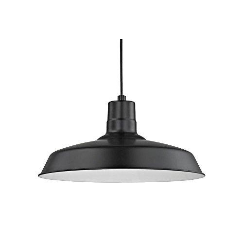 (Black Cord Hung Pendant Barn Light with 16