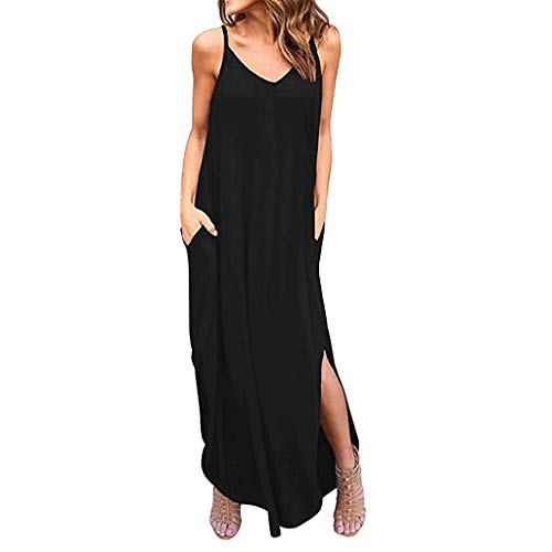 Chaofanjiancai Maxi Dress Women Summer Casual Pockets Strappy Long Dress Sleeveless Beach Cami Split Dress Black ()
