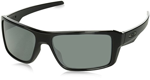 Oakley Men's OO9380 Double Edge Rectangular Sunglasses, Polished Black/Prizm Black, 66 mm