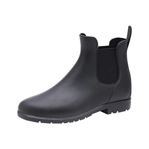 Emimarol Women's Boots Ankle Waterproof Rainboots Boots Round Toe Shoes Black