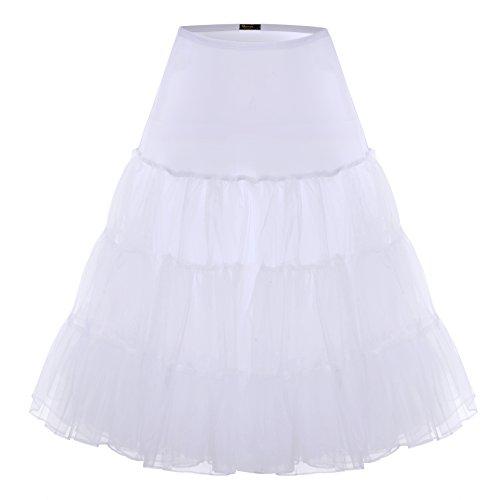 BAOMOSI Women's 50s Vintage Petticoat Skirts Crinoline Tutu Underskirts WHITE (Sheer Vintage Skirt)