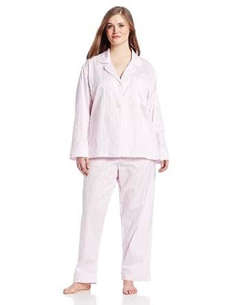 BedHead Pajamas Women's Plus-Size Classic Cotton Pajama Set (Plus), Pink, 2X