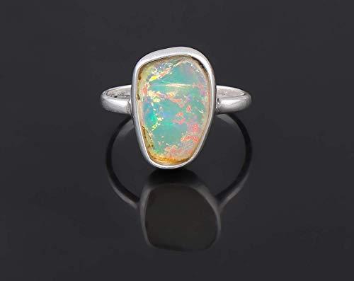 Raw Ethiopian Opal Natural Gemstone Handmade Bezel Ring 925 Sterling Silver Jewelry October Birthstone Size-4 (Stone Bezel Black Cross)