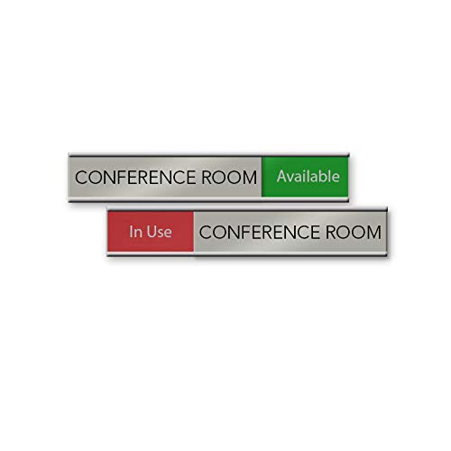 Quality Satin-Aluminum Conference Room Slider Signs - 6 x 1 - Made in The USA (Red/Green)