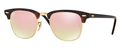 Ray-Ban RB3016 Clubmaster Sunglasses (49 mm, Tortoise Frame w/Pink Mirror Lens) Ê