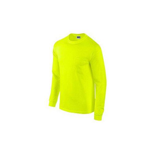 gildan usa inc g2410grn-xl 2 Pack, Adult, Extra Large, Safety Green, Long Sleeve, Pocket Tee Shirt
