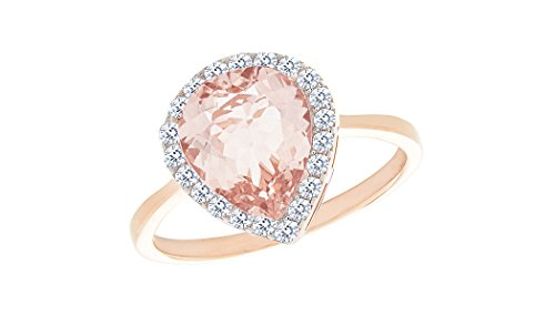 NYC Sterling Teardrop Pear Halo Cubic Zirconia Simulated Morganite Ring (8)