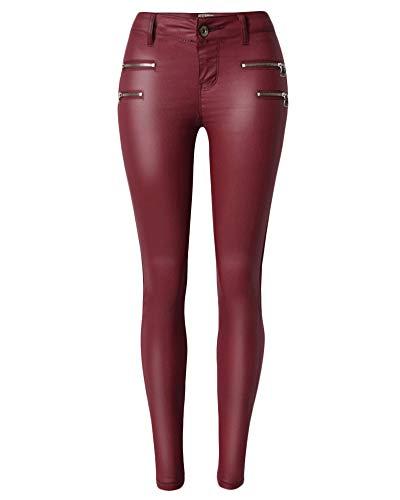 QitunC Femmes PU Enduit Crayon Pantalon Taille Basse Simili Cuir Pantalons lastique Skinny Jeans Leggings Vin Rouge