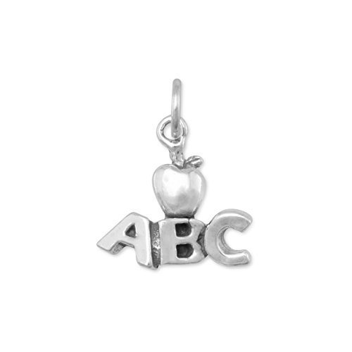 Sterling Silver Charm, 5/8 inch, ABC, Apple