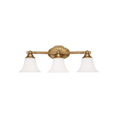 Capital Lighting 8523AG-114 Blakely 3-Light Vanity Fixture, Antique Gold Finish with Soft White Glass