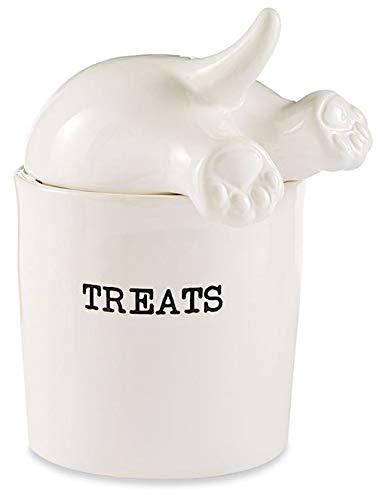 - Dog Tail Treat Canister - Ceramic Dog Treat Jar
