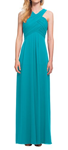 Bohemian Pretty Beach Cross High Neck Ankle Long Chiffon Prom Bridesmaid Dress Wedding Party Guest Teal Size 8