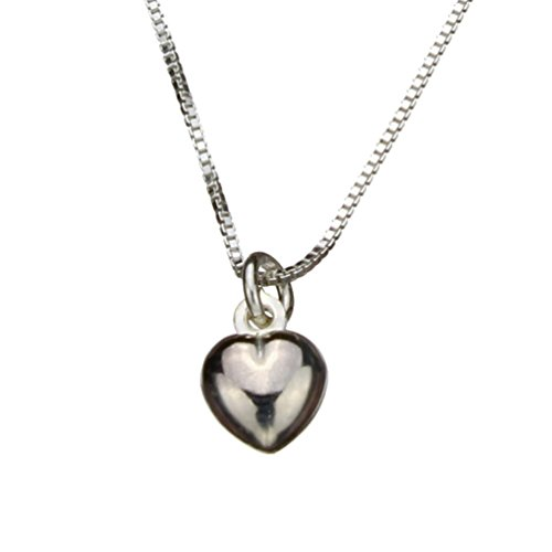 Sterling Silver Tiny Heart Charm Box Chain Nickel Free Necklace Italy, 20