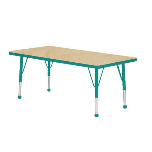 Mahar Kids 36'' X 60'' Rectangle Table Top Color: Maple, Edge Color: Teal, Leg Height: Standard 21''-30'', Glide Style: Ball by Mahar
